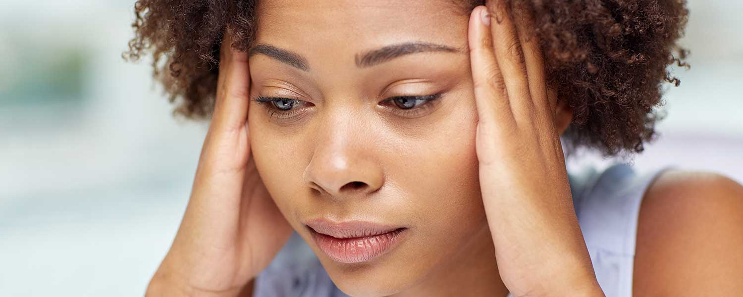 Stressed african american woman